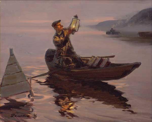 и вот бакенщик и помощник киргиз видят плывут по реке две лодки